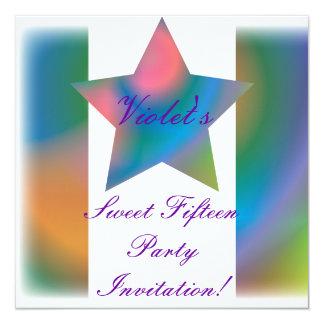 Invitación multicolora Cust. del dulce quince de