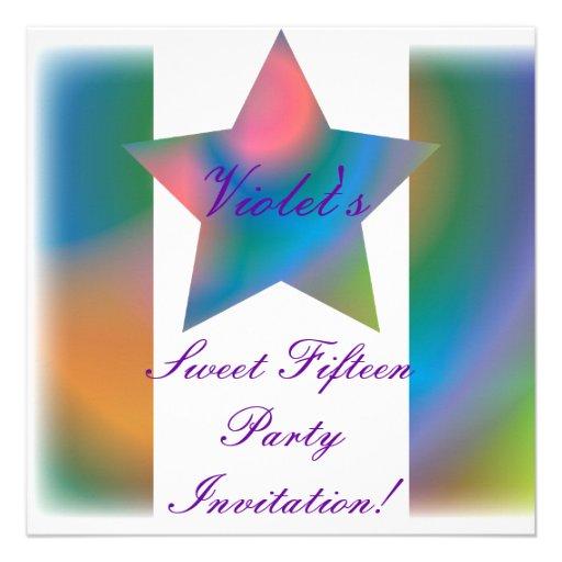 Invitación multicolora Cust. del dulce quince de l