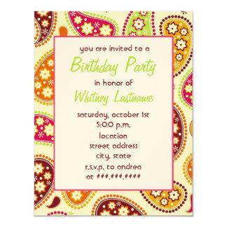 Invitación multicolora de la fiesta de cumpleaños invitación 10,8 x 13,9 cm