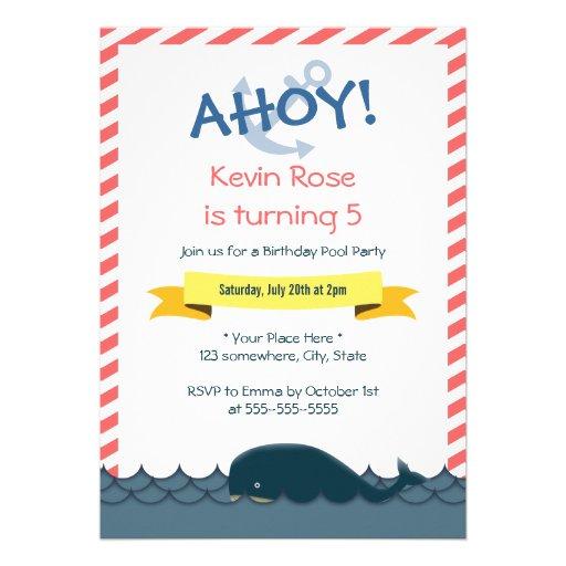 Invitación náutica de la fiesta en la piscina del