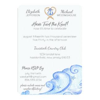 Invitación náutica del banquete de boda del poste