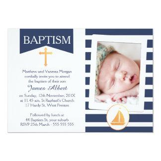 Invitación náutica del bautizo del bautismo de los