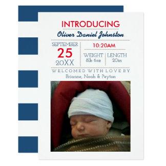 Invitación náutica del bebé de la foto de la raya