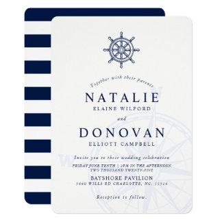 Invitación náutica del boda de la rueda de la nave