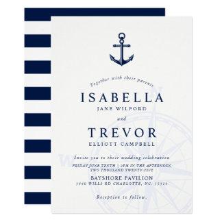 Invitación náutica del boda del ancla del vintage