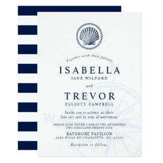 Invitación náutica del boda del Seashell de la