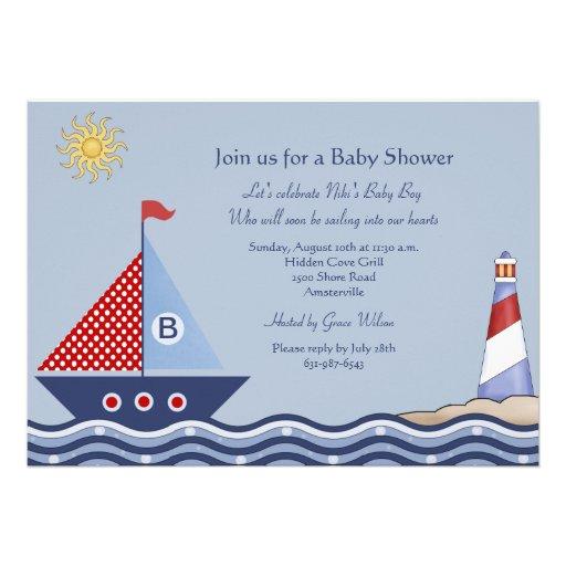 Invitación náutica del muchacho juvenil