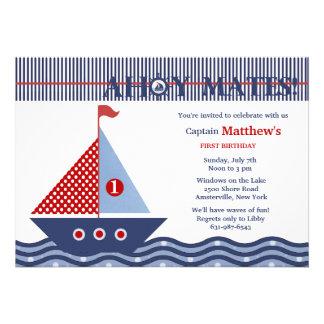 Invitación náutica juvenil de la fiesta de cumplea