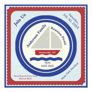 Invitación náutica roja, blanca, azul de la comida