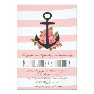 Invitación náutica romántica rosada del fiesta de