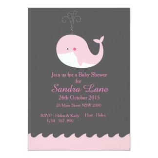 Invitación náutica rosada de la fiesta de invitación 12,7 x 17,8 cm
