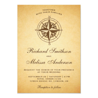 Invitación náutica rústica del boda del compás del