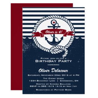 Invitación náutica rústica roja del cumpleaños de