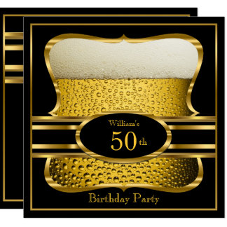 Tarjeta Invitación negra 2 de la fiesta de cumpleaños del