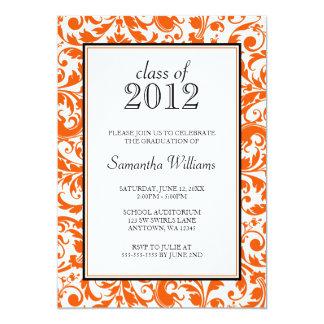 Invitación negra anaranjada de la graduación del invitación 12,7 x 17,8 cm