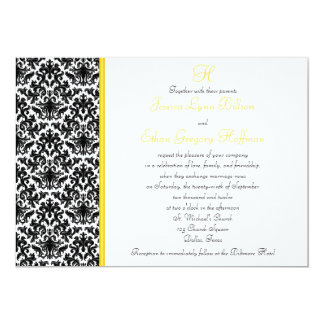 Invitación negra, blanca, amarilla del boda del