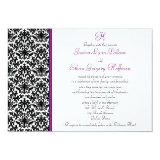 Invitación negra, blanca, púrpura del boda del