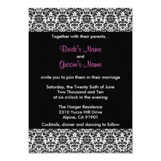 Invitación negra/blanca/rosada del boda del invitación 12,7 x 17,8 cm