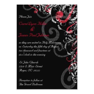 Invitación negra, blanca y roja del boda