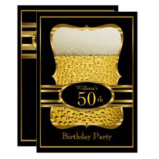 Tarjeta Invitación negra de la fiesta de cumpleaños del