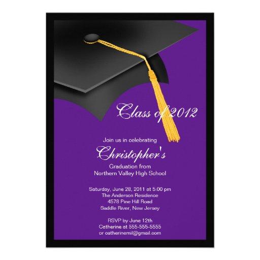 Invitación negra de la fiesta de graduación del ca de Zazzle.es