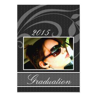 Invitación negra de la graduación del fiesta de invitación 12,7 x 17,8 cm