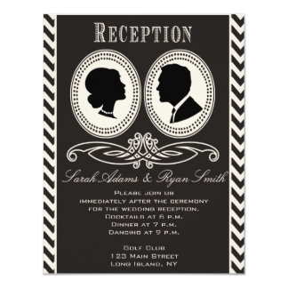 Invitación negra de moda de la recepción de