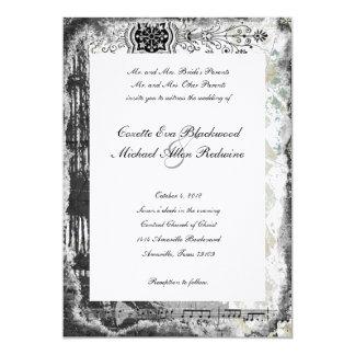 Invitación negra del boda de la música de la torre