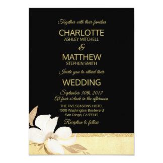 Invitación negra del boda del oro de la acuarela