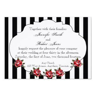 Invitación negra del boda del rosa blanco y rojo
