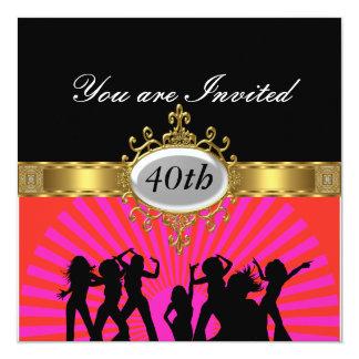 Invitación negra del encanto de la fiesta de invitación 13,3 cm x 13,3cm