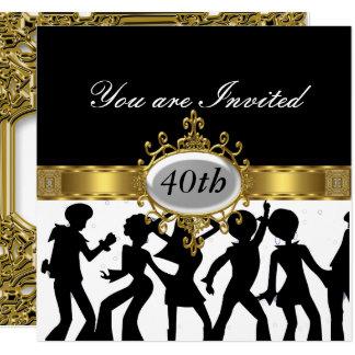 Invitación negra del encanto de la fiesta de