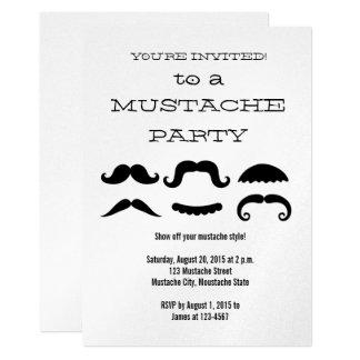 Invitación negra del fiesta del bigote de la