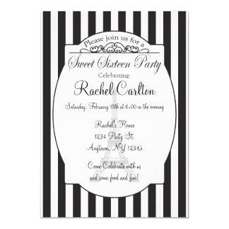 Invitación negra del fiesta del dulce dieciséis