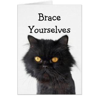 Invitación negra del fiesta del gato persa tarjeta de felicitación