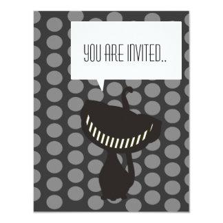 invitación negra del gato de Cheshire Invitación 10,8 X 13,9 Cm