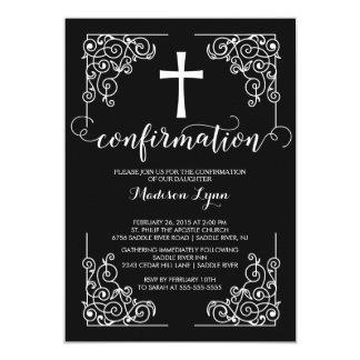 Invitación negra elegante de la confirmación de la invitación 12,7 x 17,8 cm