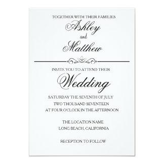Invitación negra elegante simple del boda del
