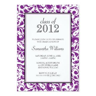 Invitación negra púrpura de la graduación del invitación 12,7 x 17,8 cm