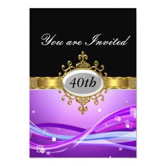 Invitación negra púrpura del encanto de la fiesta invitación 12,7 x 17,8 cm