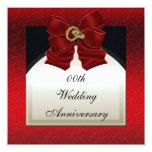 Invitación negra roja del aniversario de boda invitación 13,3 cm x 13,3cm