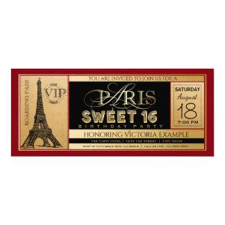 Invitación negra roja del boleto del dulce 16 de