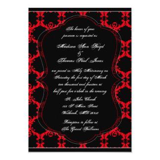 Invitación negra, roja, y blanca del boda del