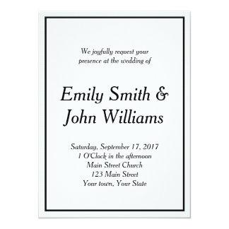 Invitación negra simple del boda de la frontera