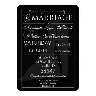 Invitación negra y blanca de los pares del boda de