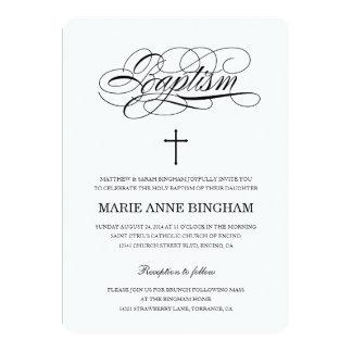 Invitación negra y blanca del bautismo
