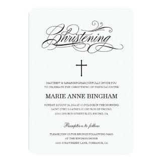 Invitación negra y blanca del bautizo