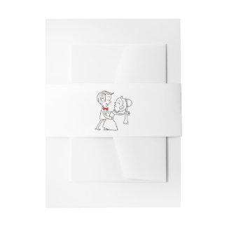 Invitación negra y blanca del boda de la novia y cintas para invitaciones