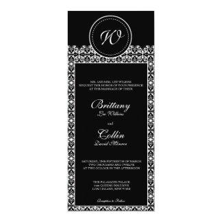 Invitación negra y blanca del boda del monograma