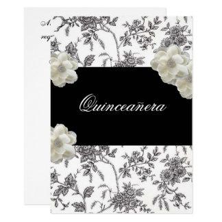 Invitación negra y blanca elegante de Quinceanera